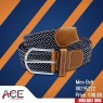 Blue and white textured braided cord belt