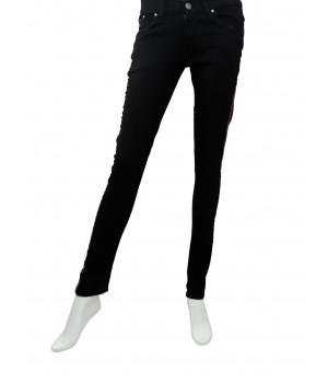 Fashionable Stripe Ladies Jeans Black