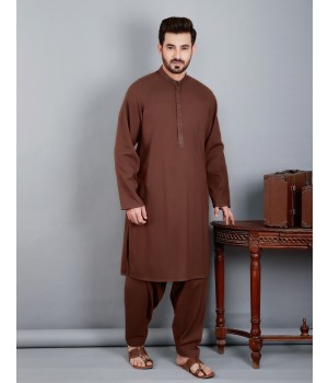 ACE 60033 (S20) Men Kurta Shalwar Emb Suit Brown